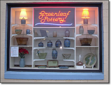 Greenleaf Pottery window